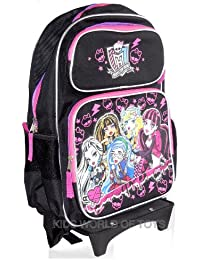 """Monster High Rolling Backpack With DETACHABLE Wheeled Trolley- 16"""" BLACK 05906"""