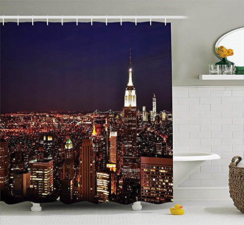 New York Shower Curtain, New York at Night Empire Building at Northeastern Most Crowded Town USA Photo, Fabric Bathroom Decor Set with Hooks, 66x72 inches, Orange Blue