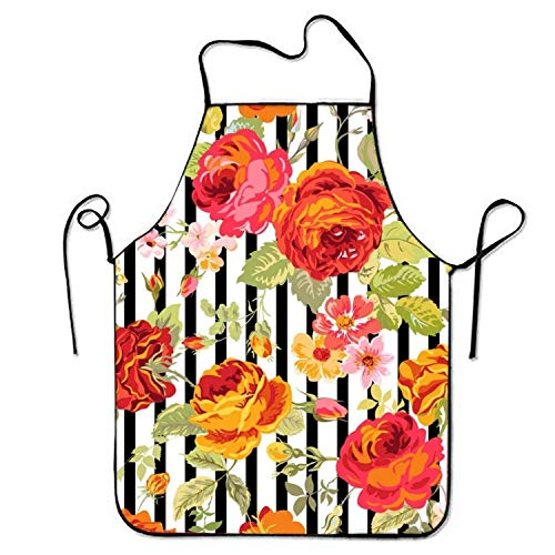Jieaiuoo Vintage Floral Background Sweetheart Chef Kitchen Apron Stitched Edges Vintage Carpenter Jeans