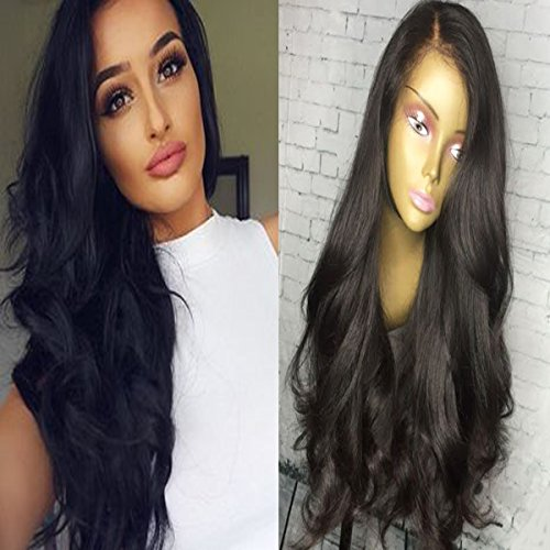 Andria Hair Body Wave Human Hair Wigs Natural Black 100% Brazilian Virgin Hair Lace Front Wigs for Black Women with Baby Hair and Bleached Knots (12\