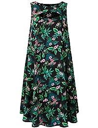 7b1dd18802b0 Simply Be Womens Green Tropical Print Cut Out Neck Swing Dress