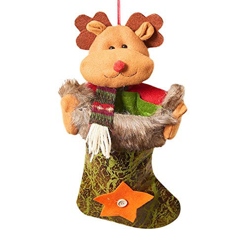 Christmas Sock Old Man Snowman Elk Weihnachtsstrumpf Socke Weihnachtsmann Candy Geschenk Tasche Weihnachtsbaum Weihnachten Weihnachtsfeier Party HäNgen Dekoration Zum BefüLlen(C,Freie ()