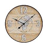 MAJOZ Wanduhr aus MDF, Retro Uhr im angesagtem Chic Design mit leisem Quarz-Uhrwerk, Ø: 50cm