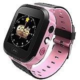 Reloj Inteligente para niños, rastreador LBS al Aire Libre cumpleaños con cámara SIM Llamadas Anti-pérdida SOS Smartwatch Pulsera para iPhone Android Smartphone en Inglès(Negro-Rosa)
