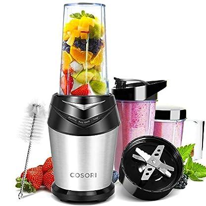COSORI-Edelstahl-Standmixer-Mixer-Blender-Smoothie-Maker-Ice-Crusher-1000W-23000-Umin-6-Edelstahlmesser-Inkl-3-BPA-freie-Tritan-Trinkflasche-und-Reinigungsbrste-SchwarzSilber