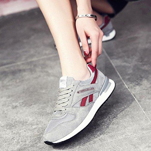 HWF Scarpe donna Sport Scarpe da corsa primaverili femminili Scarpe da ginnastica piatte in mesh traspirante Scarpe da donna ( Colore : Grigio , dimensioni : 38 ) Gray-red