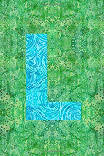 L: 6x9 unique batik pattern lined journal diary planner : initial L -