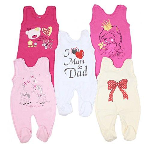 5er Pack Baby Strampler mit Aufdruck Spruch Mädchen Strampelanzug Jungen Babystrampler mit Fuß 100% Baumwolle , Farbe: Mädchen, Größe: 62