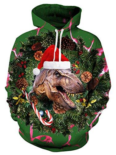 eihnachten Dinosaurier Pullover Kapuzen-Sweatshirts lässig hässliche Pullover Hoodie grün (Dinosaurier Weihnachten)