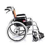 Älterer Untauglicher Rollstuhl, Faltender Tragbarer Heller Manueller Roller Des Alten Mannes Geben Aufblasbare Rad-Aluminiumlegierungs-Schwingen-Wegfußstützen Frei, Y-L