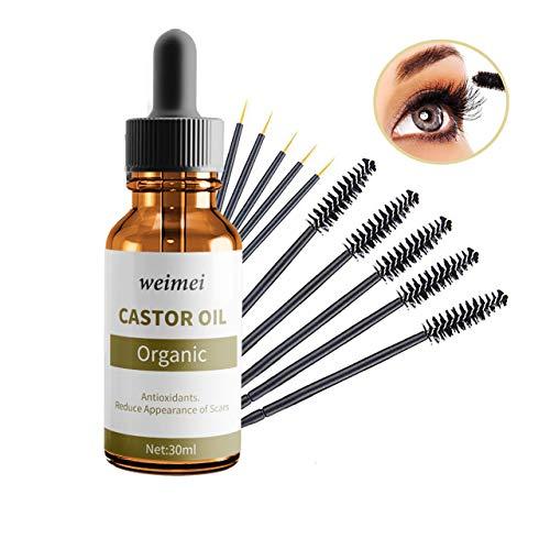 Rizinusöl - Bio Rizinusöl für das Wachstum der Wimpern - reines, natürliches, kaltgepresstes, veganes, hexanfreies - pflegt und spendet Feuchtigkeit für Haare, Wimpern und Augenbrauen -30ml