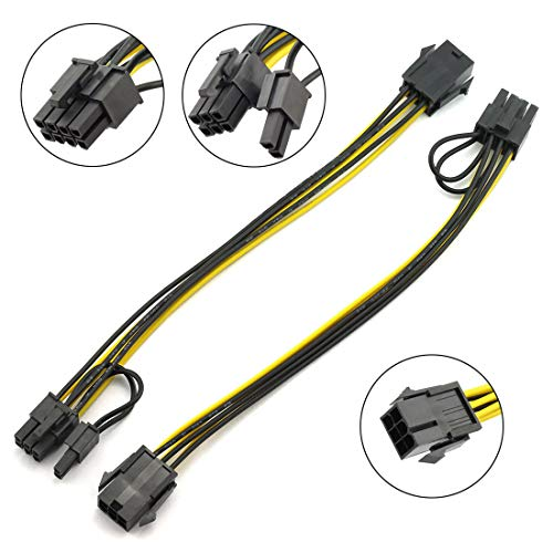 DZS Elec PCIe 6-Pin auf 8-Pin Adapter Power Extension Cable PCI-e 6-pin Female auf 8-pin Male Converter for PCI Express 6+2-Pin (6-Pin / 8pin) Powered GPU Grafikkarte 20 cm 1 to 1 8 Awg Power Cable