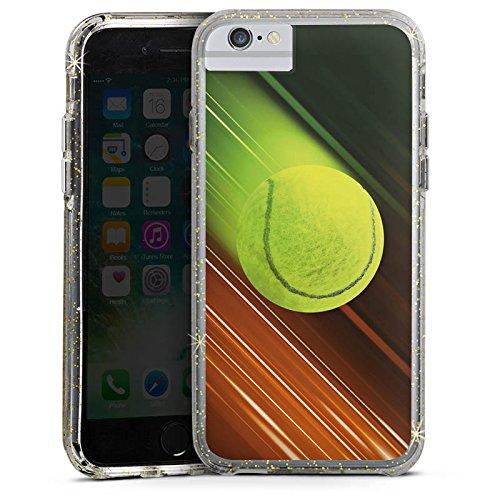 Apple iPhone X Bumper Hülle Bumper Case Glitzer Hülle Tennis Tennisball Speed Bumper Case Glitzer gold