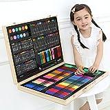 251pcs Boîte en bois artiste Set Professionnel enfants Art peinture Set Artiste ensemble Deluxe Crayons Peintures Stylos Crayons...