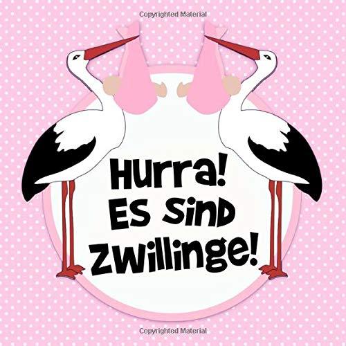 Hurra! Es sind Zwillinge!: Rosa Tupfen Storch Gästebuch für Babyparty Mädchen - Baby Dusche / Babyshower Buch für weibliche Babys - 112 Einträge für ... Baby - Geschenkeliste - Quadratische Format