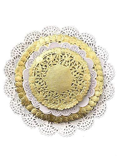 Paquete combinado de 120 blondas de encaje de papel blanco y dorado, tamaños surtidos 4, 5, 6 y 8 pulgadas (30 de cada uno)