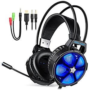 EasySMX TH612-V350 Gaming Headset mit Aufh?ngung Kopfband LED Lichtrauschen ¨¹ber Kopf Kopfh?rer mit drehbarem Mikrofon f¨¹r PC / PS4 (schwarz)