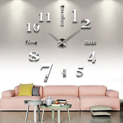 Chinatera Modern Mute DIY Large Wall Clock 3D Sticker Home Office Decor Gift