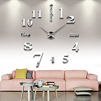 Chinatera DIY Large Wall Clock 3D Mirror Sticker Big Watch Home