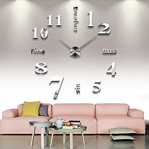 confronta il prezzo DIY Large Wall Clock 3D Mirror Sticker Big Watch Home Decor Unique Gift miglior prezzo