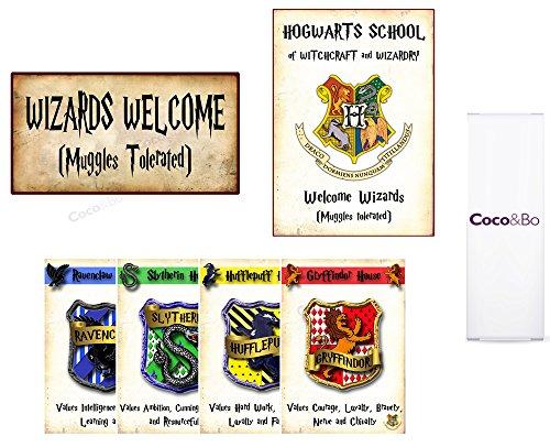 """Coco & Bo, Hogwarts Häuser, Standard Raumdeko-Set für Partys, PaGryffindor, Slytherin, Hufflepuff und Ravenclaw, Magischer Zauberer Harry Potter, Tischdekoration mit Hogwarts-Schulthema, Ballons, Schild mit der Aufschrift """"Welcome Wizards"""" (in englischer Sprach), Dekoration aus der Hogwarts Häuser-Szene."""
