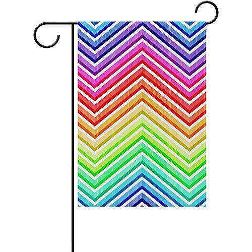HujuTM Vivid Colorful Rainbow Polyester Garden Flag Outdoor Flag Home Party Garden Decor, Double Sided, 12\
