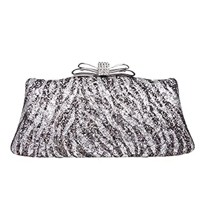 Bonjanvye Zebra Pattern Bow Glitter Handbags For Womens Purses And Clutches
