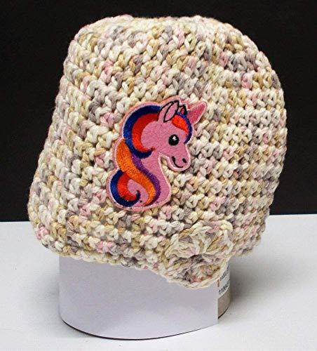 Häkelmütze, Einhorn rosa, Mütze, Beanie, Handarbeit, Motiv, rosa-braun, Baumwolle, Einhorn,...