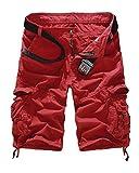 QitunC Pantalones Cargo Hombre Bermuda Cortos Multi-Bolsillo Outdoor Corto Pantalón Rojo 36