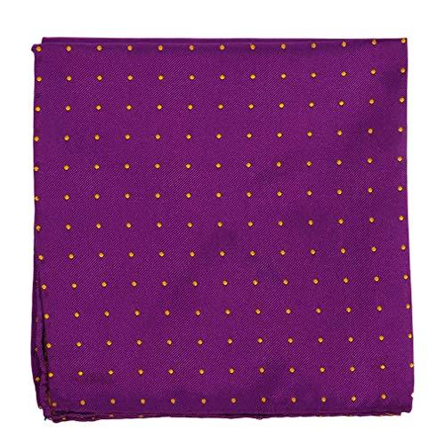 Chiccheria Brand Milano Handrolliertes Einstecktuch 100% Seide/Kavalierstuch/Taschentuch/Pocket Square/Pochette, Violett, gelbe Polka Dots -