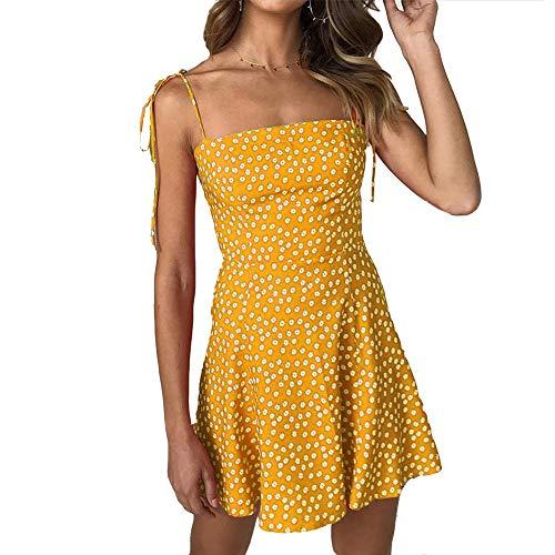 Ärmellos Rüschen V-ausschnitt Kleid (Damen Sommerkleider Strandkleider V Ausschnitt A-Linie Kleid Casual Ärmellos Kurz Rüschen Polka Dots Mit Gürtel Gelb M)