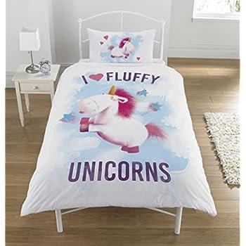 despicable me flauschig einhorn bettw sche set polyester baumwolle mehrfarbig single amazon. Black Bedroom Furniture Sets. Home Design Ideas