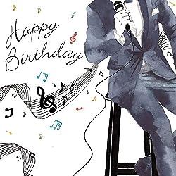 Twizler Geburtstagskarte für Herren, mit Silberfolie, einzigartiger Aquarell-Effekt, Motiv: Musik und Sänger