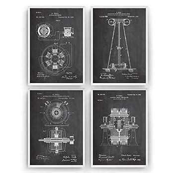 Nikola Tesla Patent Poster – Satz von 4 – Engineer Ingenieurwesen elektrisch Ingenieur Wissenschaft Science Print Mauer Art Kunst Zeichnungen Geschenke – Rahmen nicht enthalten