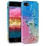 kwmobile Coque Apple iPhone 7/8 - Coque pour Apple iPhone 7/8 - Housse de Protection en Plastique Rigide Rose Clair-Bleu Clair-Jaune