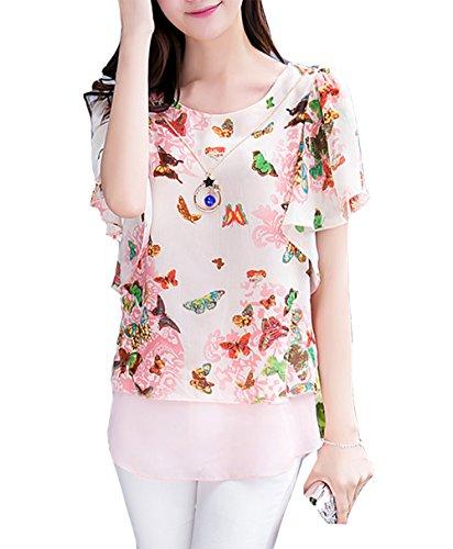 Cheerlife Damen Sommer Casual Loose Fit Kurzarm Fledermaus Batwing T-Shirt Shirt Chiffon Hemd Top Bluse Schmetterlinge Rosa