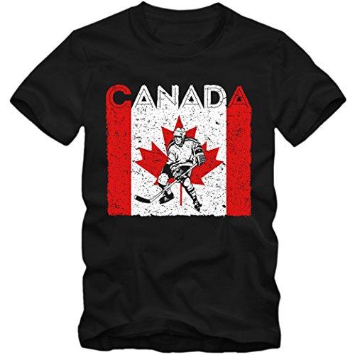 Canada Eishockey #4 Premium T-Shirt Kanada Flagge Eis-Hockey-Spieler Herren Shirt, Farbe:Schwarz (Deep Black L190);Größe:XXL (Eishockey-kanada-bekleidung)