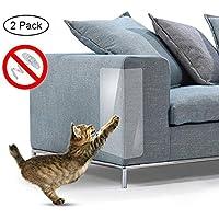 AOLVO Mascotas Sofá Protector – 2 Piezas Muebles Antiarañazos Pegatina Transparente Autoadhesivo Rascador para Gato Garra para Proteger la Tapicería/Paredes / Colchón/Alfombra