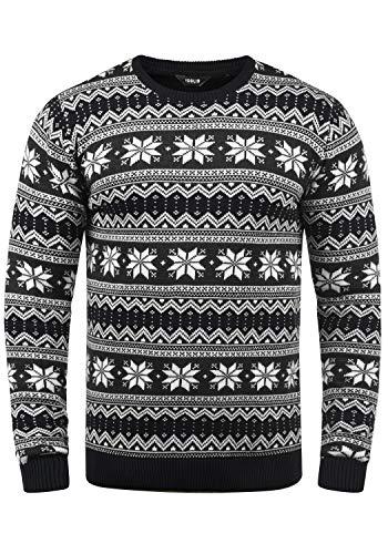 !Solid Winno Herren Weihnachtspullover Norweger-Pullover Winter Strickpullover Grobstrick Pullover mit Rundhalsausschnitt, Größe:M, Farbe:Black (9000)