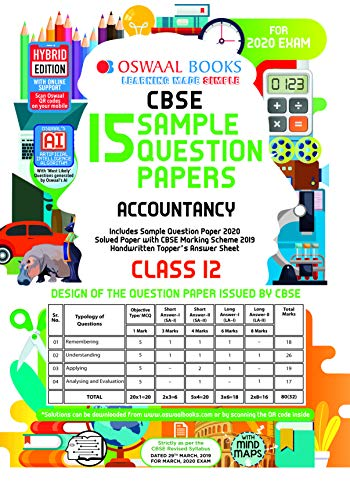 Oswaal CBSE Sample Question Papers Class 12 Accountancy (For March 2020 Exam)