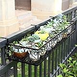 Support de fleur noir en métal, support pour plante suspendue intérieure et extérieure, support pour usine d'art en fer rectangulaire (taille : 60 cm)