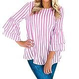 IMJONO T-Shirt Damen Sommer Bauchfrei Trägerlos V-Ausschnitt Stickerei Crop Tops Oberteile Bluse(EU-40/CN-L,Rosa)