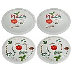 Retsch Arzberg Pizzateller'Pomodoro & Spezia' Ø 30cm, Porzellan, weiß, 4-teilig (1 Set)