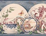Retro Art Wunderschön bemalte weißen Teller Tassen Wasserkocher Küche blaue Tapete Grenze Vintage-Design, Roll-15' x 9''