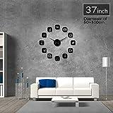 Guokee Social Media Symbole DIY Wandkunst Riesen Wanduhr Büro College Wohnheim Dekor 3D Frameless Icons Wanduhr Geschenke für Jugendliche schwarz 37 Zoll