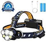 Head Torch, Yoart Headlamp USB Rechargeable Headlight with 6 CREE LED Adjustable 8