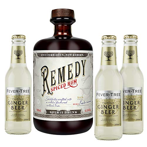 Remedy Spiced Rum (1 x 0,7l) + 3 Flaschen Fever Tree Ginger Beer (3 x 0,2l) (Mehrweg) inklusive 0,45€ Pfand