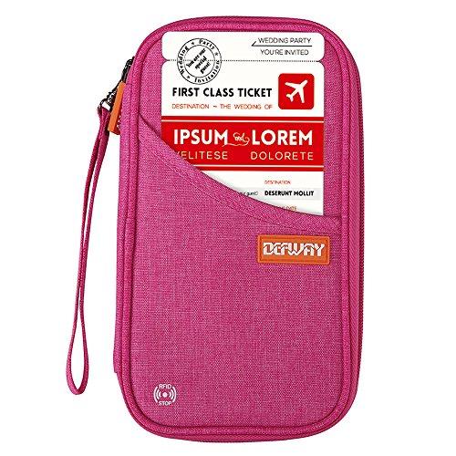 DEFWAY Reisepass Tasche Reisepasshülle Ausweistasche - Familie Reisebrieftasche mit Umhängeband Organizer Kreditkarte Flugticket Etui, RFID Passport Holder für Damen Herren, 24 * 13 * 2cm, Rot