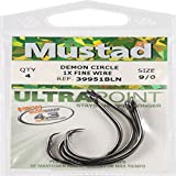 Mustad UltraPoint Demon Perfect In-Line Circle 1 Extra Fine Wire Hook (Pack Of 4)