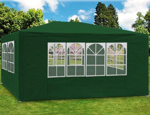 Deuba Festzelt Maui 3x4m 12 m² Pavillon Seitenwände wasserabweisend UV-Schutz 50+ Partyzelt Gartenpavillon Gartenzelt Grün